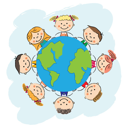 Illustration pour children with planet. Earth day. Recycle day. - image libre de droit