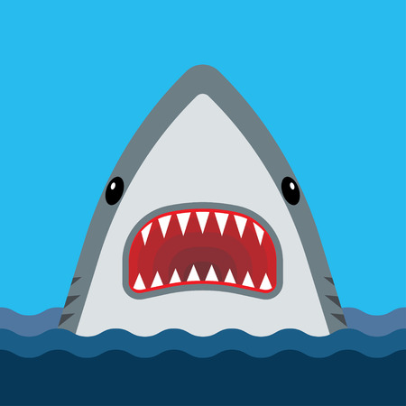 Illustration pour Shark with open mouth and sharp teeth. Vector illustration in flat style - image libre de droit