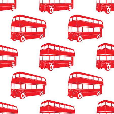 Illustration pour British pattern with double deck red bus. City public transport vector illustration. - image libre de droit