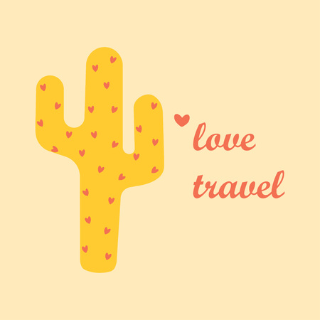 cute cactus print with inspirational quote isolated on white