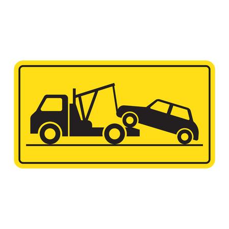 Ilustración de Tow truck city road assistance service evacuator. Parking violation. vector illustration - Imagen libre de derechos