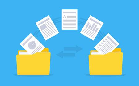 Illustration pour Files transfer   Documents management. Copy files, data exchange, backup Vector illustration - image libre de droit