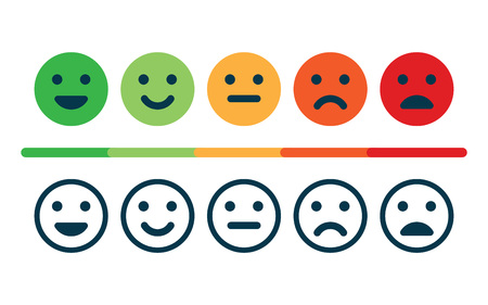 Photo pour Rating satisfaction feedback in the form of emoticons. - image libre de droit