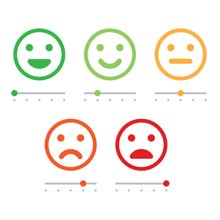 Illustration pour Rating satisfaction. Feedback in form of emotions. Excellent, good, normal, bad awful Vector illustration - image libre de droit