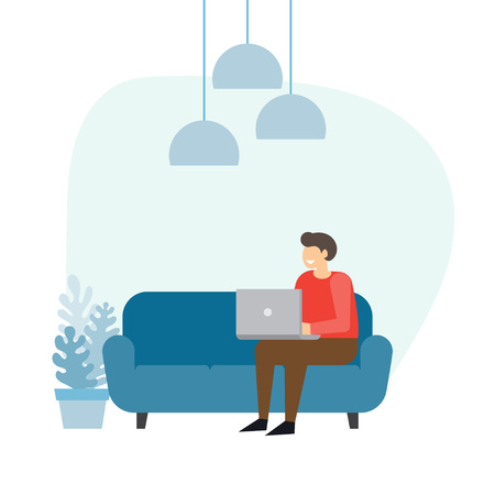 Illustration pour Man sitting on the sofa at home interior and working with laptop. Freelancer vector illustration. - image libre de droit