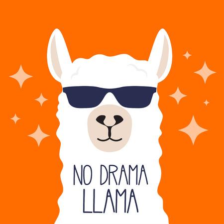 Illustration pour White llama with sunglasses and lettering. No drama llama. Motivational poster for prints. Vector illustration. - image libre de droit