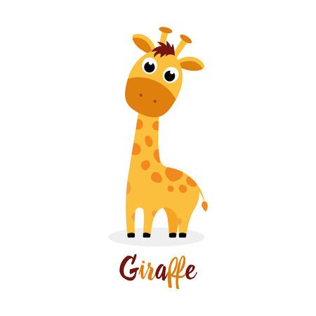 Ilustración de cute cartoon giraffe with inscription on white background, funny animal for any design - Imagen libre de derechos