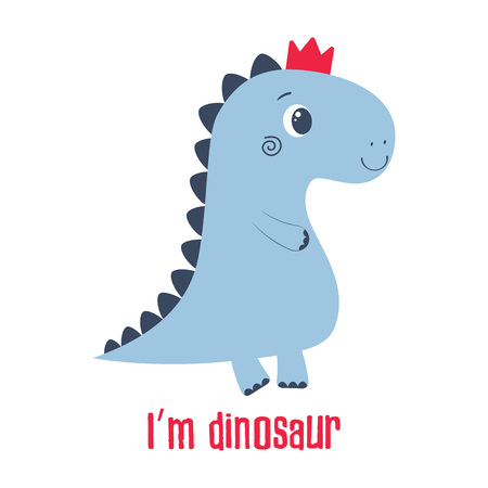 Illustration pour simple illustration of cartoon dinosaur in crown, picture of cute animal for any design - image libre de droit