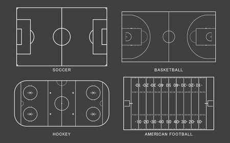 Illustration pour Set of sport field. American football, soccer, basketball, ice hockey rink, isolated on black background. Line art style. Vector illustration. - image libre de droit
