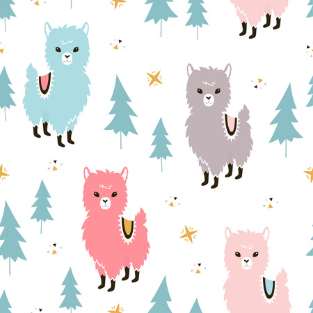 Christmas Llamas Seamless Pattern Winter Holidays Greeting