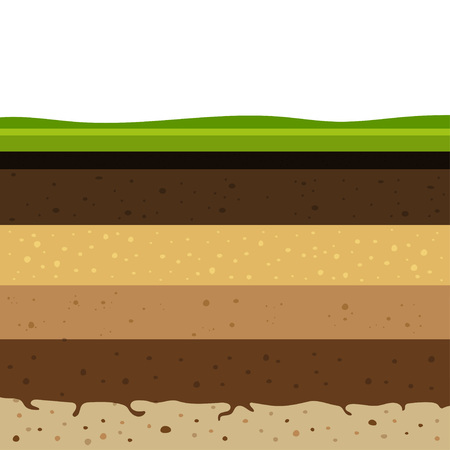 Illustration pour Layers of grass with Underground layers of earth, seamless ground, cut of soil profile with a grass, layers of the earth, clay and stones, ground water - image libre de droit