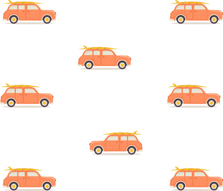Illustration for pattern with retro car and surfboard on roof isolated on white, wallpaper with travel desing - Royalty Free Image