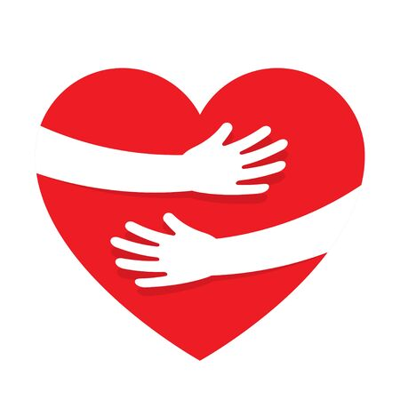 Illustration for Hands embracing red heart with love. Valentine Day. World heart day. Embracing love symbol. Vector illustration - Royalty Free Image