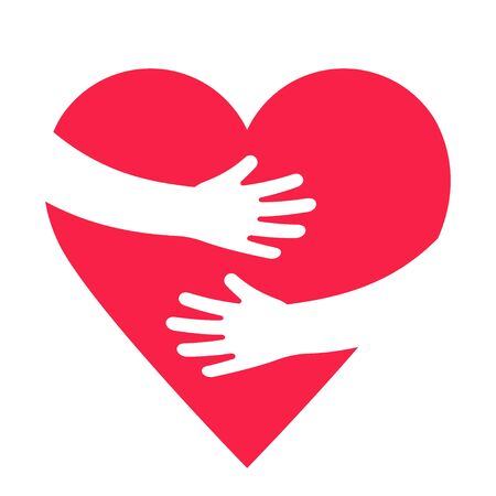 Photo for Hands embracing red heart with love. Valentine Day. World heart day. Embracing love symbol. Vector illustration - Royalty Free Image