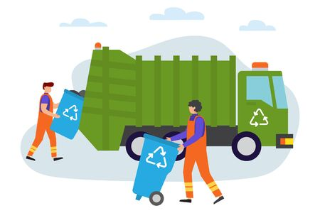 Illustration for Garbage man at work. Lorry for urban waste removal service. Waste recycling. Gathering, sorting and transporting process of garbage. Vector illustration. People gather trash - Royalty Free Image