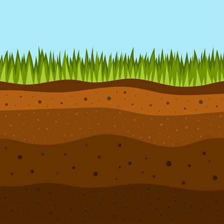 Illustration pour soil layers with green grass on top. The stratum of organic, minerals, sand, clay, silt, parent rock and unweathered parent material, layers of ground - image libre de droit