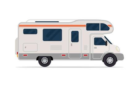 Illustration pour Modern camper van. Comfortable motorhome. Side view. Vector illustration. Isolated on white background. - image libre de droit