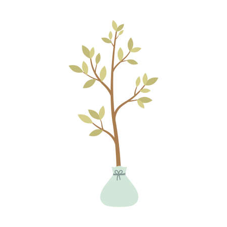 Illustration pour seedling tree isolated on white background, vector illustration of seeds and seedlings - image libre de droit