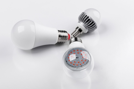 Photo for Set with different types of LED bulbs on white background - Royalty Free Image