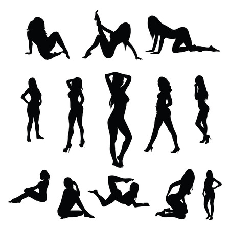 Sexy female poses - vector