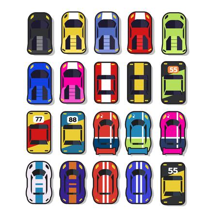 Illustration pour Top view 2D Game asset, Set of race street car, for game design - image libre de droit