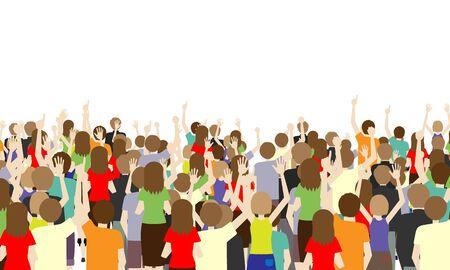 Illustration pour Illustration of the back of many spectators - image libre de droit