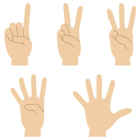 Illustration pour Set of illustrations of hand signs expressing the numbers 1 to 5 - image libre de droit