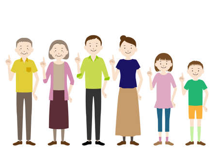 Illustration for Illustration of a three generation family (grandfather, grandmother, father, mother, girl, boy set) Pointing pose - Royalty Free Image
