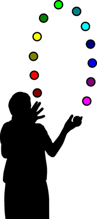 juggler with colorful balls-training brain skills
