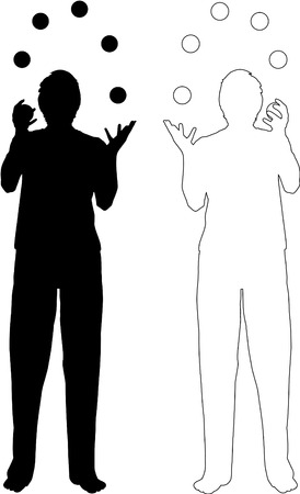 silhouette and outline-illustration of juggling men