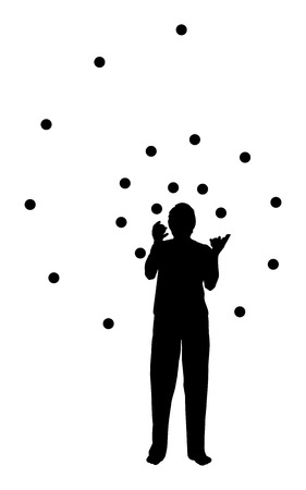silhouette of a man juggling in spiral form