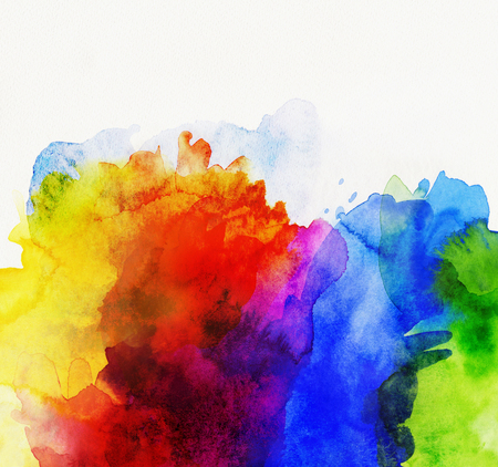 Foto de bright rainbow colored watercolor paints on white paper - Imagen libre de derechos