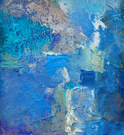 Foto de abstract blue colored layer artwork, opaque and transparent oil paint textures on canvas - Imagen libre de derechos