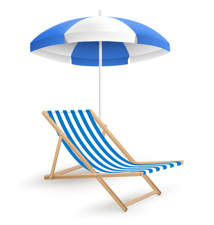 Sun beach umbrella with beach chair isolated on white background