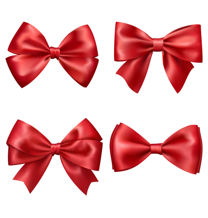 Set Collection of Festive Red Satin Bows Isolated on White Background
