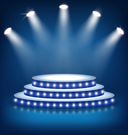 Illuminated Festive Stage Podium with Lamps on Blue Background
