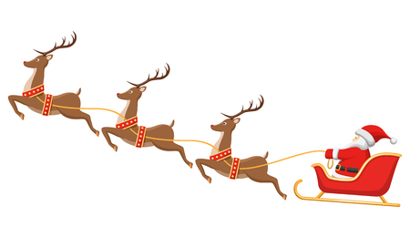 Santa on Sleigh and His Reindeers Isolated on White Background