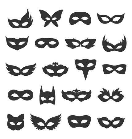 Illustration pour Set Collection of Black Carnival Masquerade Masks Icons Isolated on White Background - image libre de droit