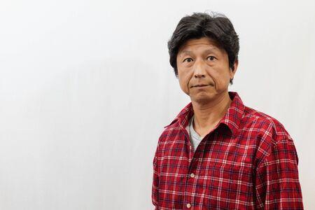 Photo for Japanese man photographed on white background - Royalty Free Image