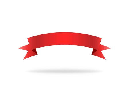 Illustration pour Red ribbon. Premium stripe for decoration. Vector isolated icon. Label or bookmark template. Symbol of flag or design. Curve silk label. Vector EPS 10. - image libre de droit