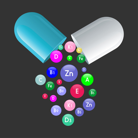 Illustration pour Vitamin complex of pill capsule and vitamins bubbles with names for dietary supplement and healthy lifestyle advertising design template. Vector A, B and ascorbic acid C and PP or vitamin D pills - image libre de droit
