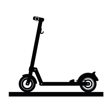 Illustration pour Silhouette of a modern electric scooter isolated on white background - image libre de droit