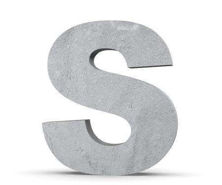 Foto de Concrete Capital Letter - S isolated on white background. 3D render Illustration - Imagen libre de derechos