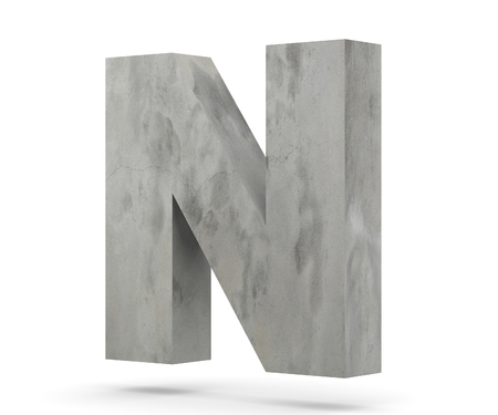 Concrete Capital Letter - N isolated on white background. 3D render Illustration