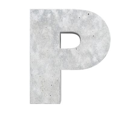 Concrete Capital Letter - P isolated on white background. 3D render Illustration