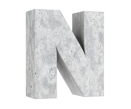 Concrete Capital Letter - N isolated on white background. 3D render Illustration
