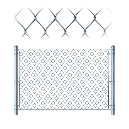 Illustration pour Realistic metal chain link fence. metal mesh on isolated on white background. - image libre de droit