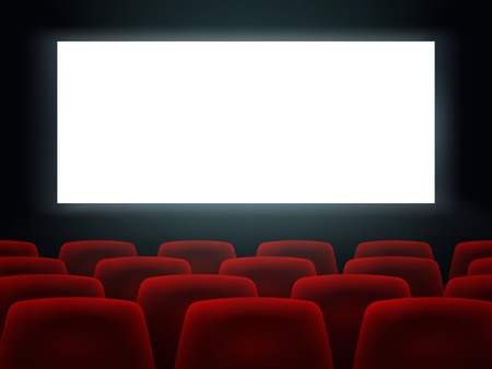 Illustration for Cinema Hall With White Blank Screen And Red Rows Cinema Movie Theater Seats. - Royalty Free Image