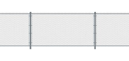 Illustration pour Chain link fence seamless. Metal Wire Fence. Wire grid construction steel security and safety wall. - image libre de droit