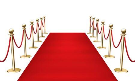 Illustration pour Red carpet with golden barrier fencing realistic 3d vector illustration on white background. Grand opening. VIP entrance. Celebrity party entrance. - image libre de droit